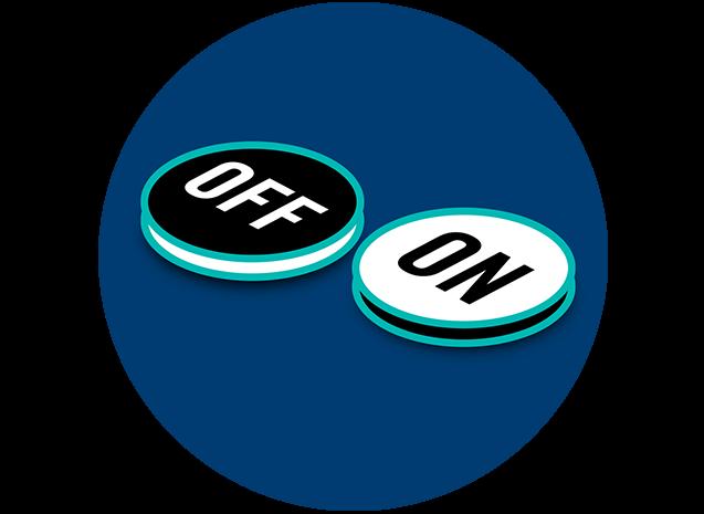 Deux disques noirs et blancs affichent les mentions «OFF» et «ON».