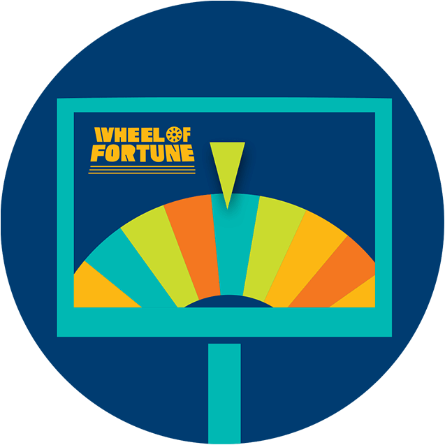 A monitor displays a multicoloured prize wheel with the pointer resting on a blue sliver with wheel of fortune logo on the left top corner