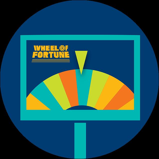 Un moniteur affiche une roue de prix multicolore avec le pointeur reposant sur un argent bleu et le logo de la roue de la fortune dans le coin supérieur gauche.
