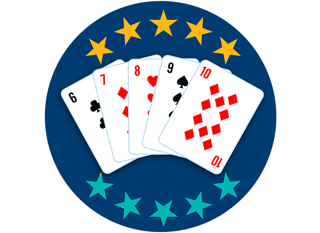 Five playing cards appear face up, showing the 6 of Clubs, 7 of Diamonds, 8 of Hearts, 9 ofSpades and 10 of Diamonds. Five out of 10 stars are highlighted, showing this hand ranks fifth lowest overall.