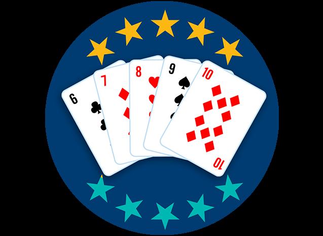 5张牌均牌面朝上,分别为梅花6、方块7、红桃8、黑桃9和方块10。10颗星里有5颗星高亮,显示出这套牌型是第六强的