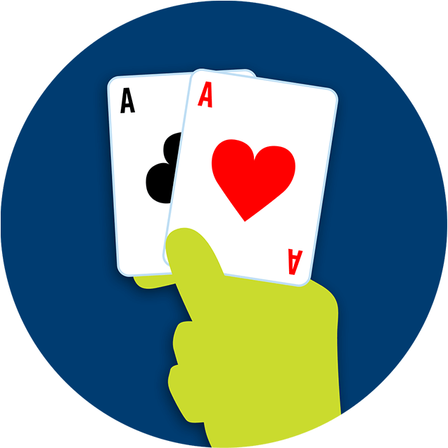 A hand holds up a pair of aces.