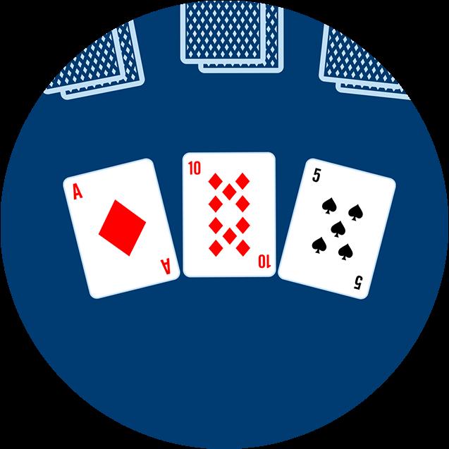 Trois cartes, face visible, apparaissent sur la table : un as de carreau, un 10 de carreau et un 5 de pique.