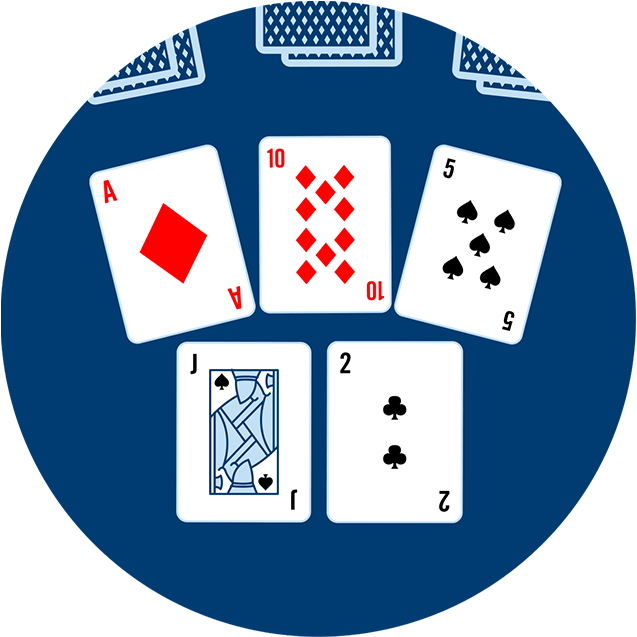 Fivecards appear face up. The Ace of Diamonds,10 of Diamonds, 5 of Spades,theJack of Spades and the 2 of Clubs.