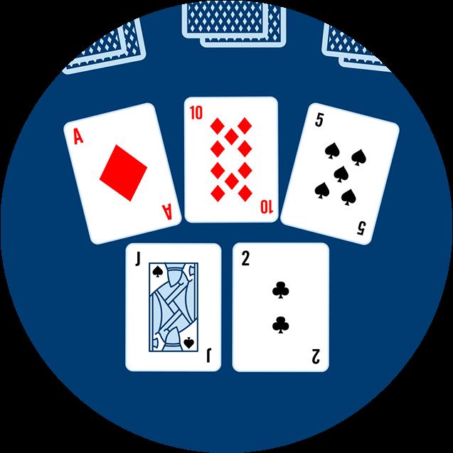 Cinq cartes apparaissent, face visible: l'as de carreau, le 10 de carreau, le 5 de pique, le valet de pique et le 2 de trèfle.