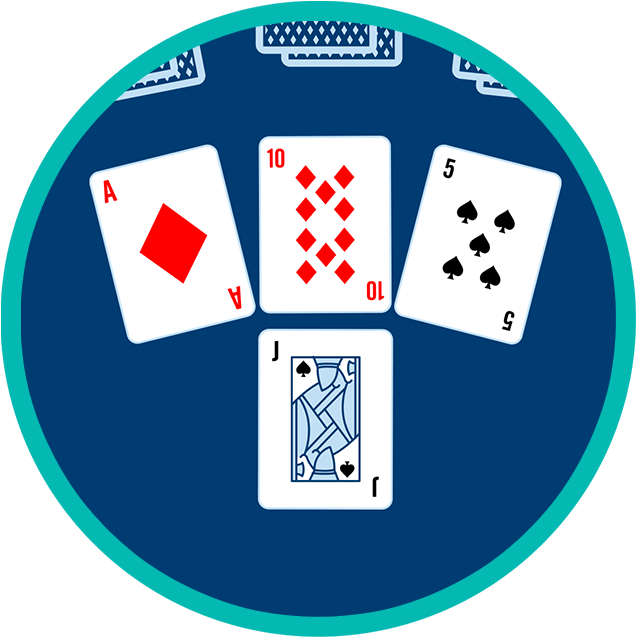 Four cards appear face up. The first three are the Ace of Diamonds, 10 of Diamonds and5 of Spades and the fourth is the Jack of Spades.