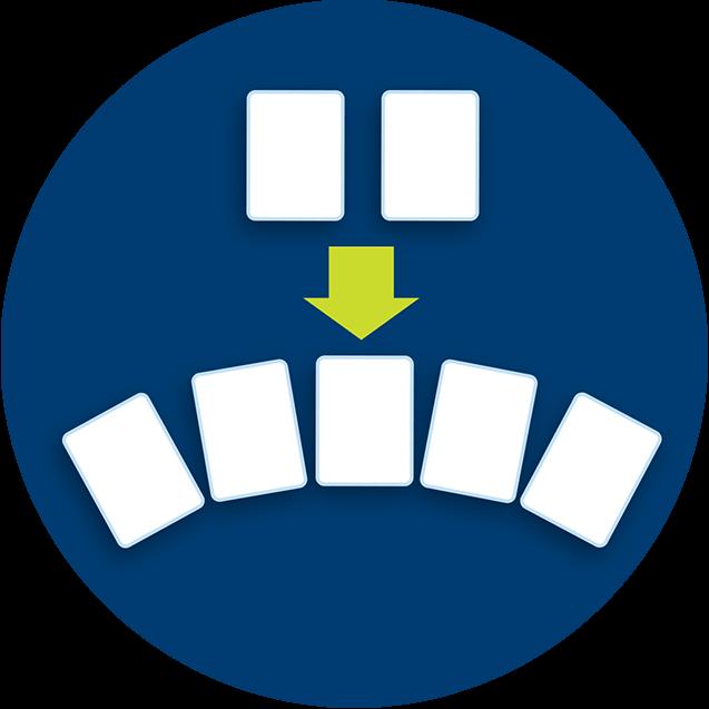 Deux cartes fermées blanches sont placées dans le haut d'une image illustrant une flèche qui pointe en direction de cinq cartes communes blanches placées en dessous.