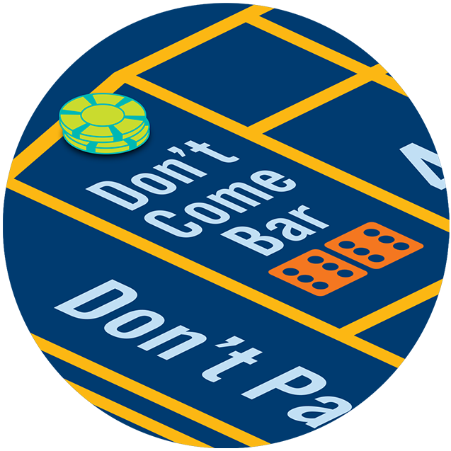 "A stack of chips on a craps table with the word ""don't come bar"""