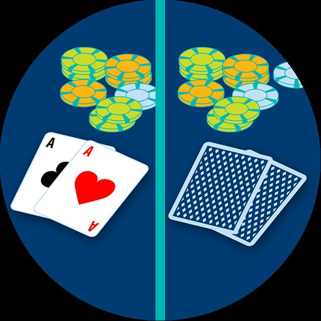 Une image est divisée au centre. Du côté gauche, il y a deux cartes, face visible : l'as de trèfle et l'as de carreau devant la cagnotte. Du côté droit, il y a deux cartes, face cachée, devant la cagnotte.