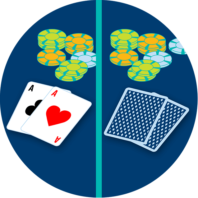 One image, split down the middle. Left side shows 2 cards face up, the Ace of Clubs and the Ace of Diamonds in front of the pot. The right side shows 2 cards face down in front of the pot.