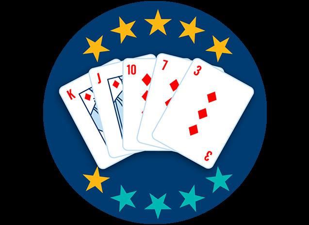 Cinq cartes apparaissent, face visible : le roi, le valet, le 10, le 7 et le 3 de carreau. Six étoiles sur dix sont colorées pour indiquer que cette main se classe au cinquième rang parmi toutes les mains.