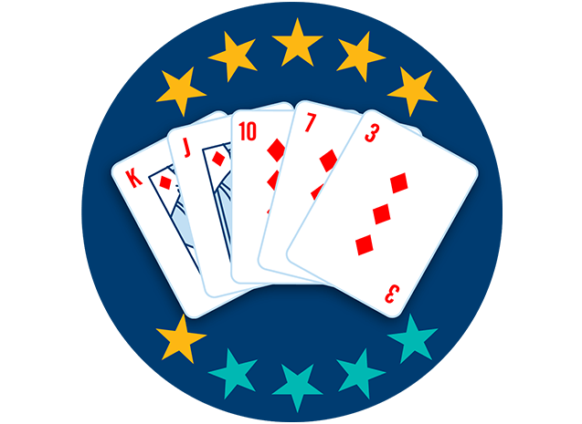 5张牌均牌面朝上,分别为方块K、J、10、7和3。10颗星里有6颗星高亮,显示出这套牌型是第五强的