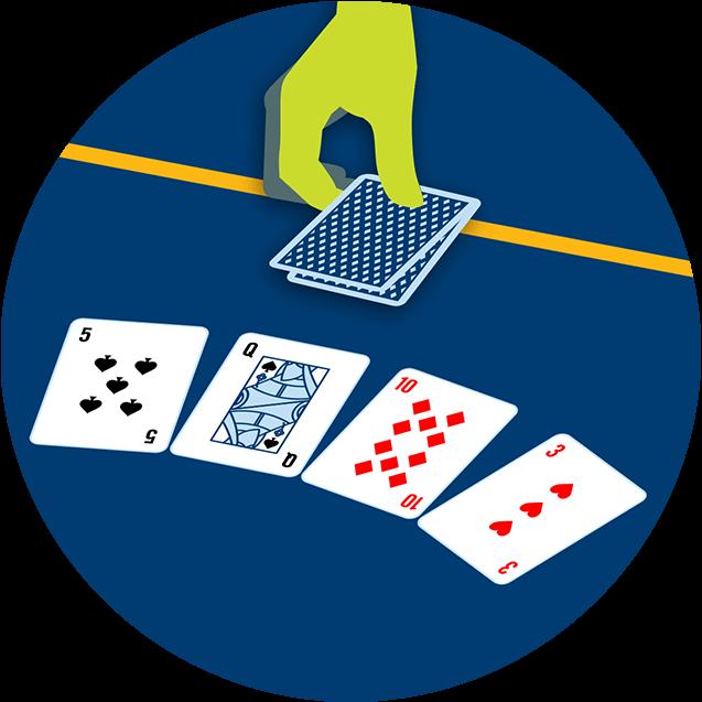 Une main place deux cartes, face cachée, sur la ligne de mise devant trois cartes communes ouvertes.