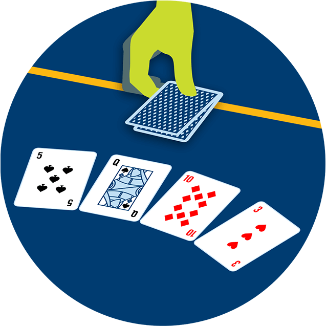 A hand places two cards face down over the betting line, in front of 3 community cards that appear face up.