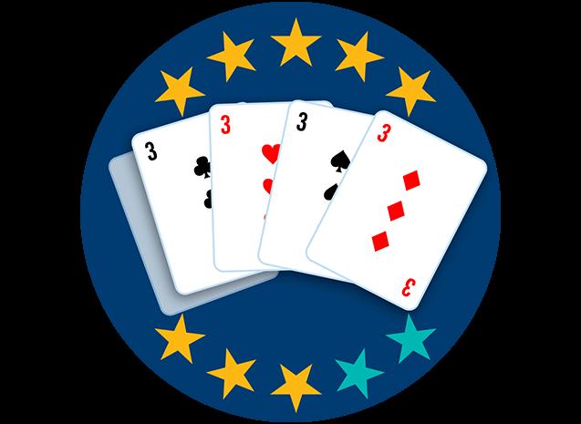 Quatre cartes sur cinq apparaissent, face visible : le 3 de trèfle, le 3 de cœur, le 3 de pique et le 3 de carreau. Huit étoiles sur dix sont colorées pour indiquerque cette main se classe au troisième rang parmi toutes les mains.