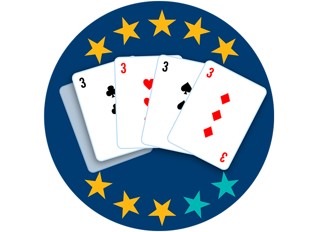 Four of 5playing cards appear face up, showing the 3 of Clubs, 3 of Hearts, 3 of Spades, and 3 of Diamonds. Eight of 10 stars are highlighted, showing this hand ranks third highest over all.