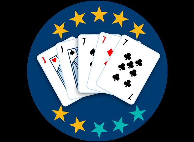 5张牌均牌面朝上,分别为红桃J,黑桃J,黑桃7,方块7和梅花7。10颗星里有7颗星高亮,显示出这套牌型是第四强的