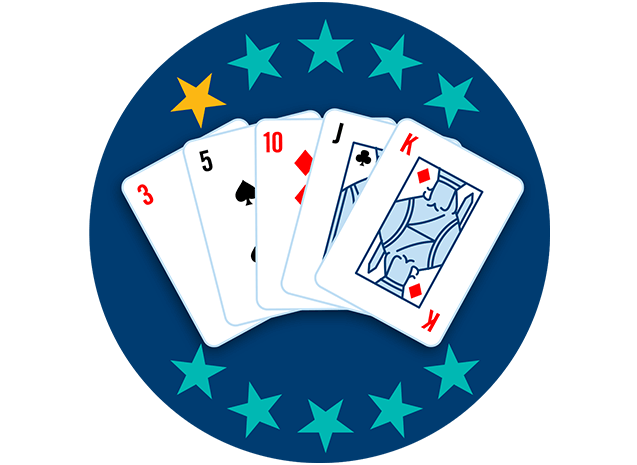 Five playing cards appear face up, showing a red 3, a 5 of Spades, 10 of Diamonds, a Jack of Spades and a King of Diamonds.. One out of 10 stars is highlighted, showing this hand ranks second lowest overall.