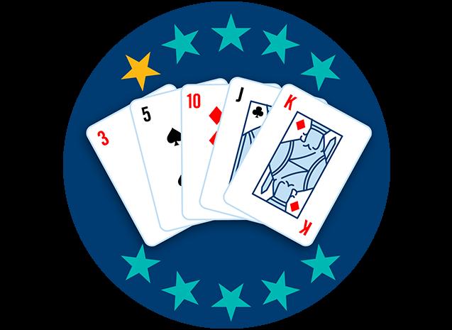 5张牌全部牌面朝上,分别为红3、黑桃5、方块10、梅花J和方块K。10颗星里有1颗星高亮,显示出这套牌型是最弱的