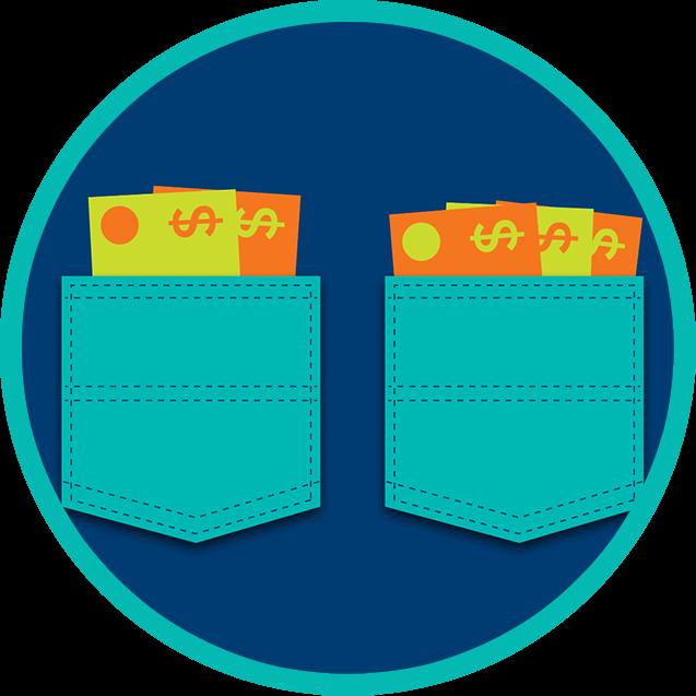 Deux poches remplies d'argent.