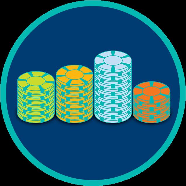 Quatre piles de jetons de différentes couleurs sont alignées en ordre.