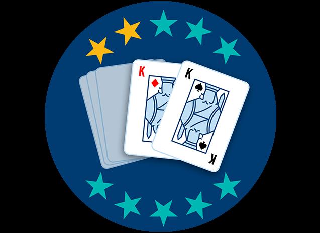 Deux cartes sur cinq apparaissent, face visible: le roi de carreau et le roi de trèfle. Deux étoiles sur dix sont colorées pour indiquer que cette main se classe au neuvième rang parmi toutes les mains.