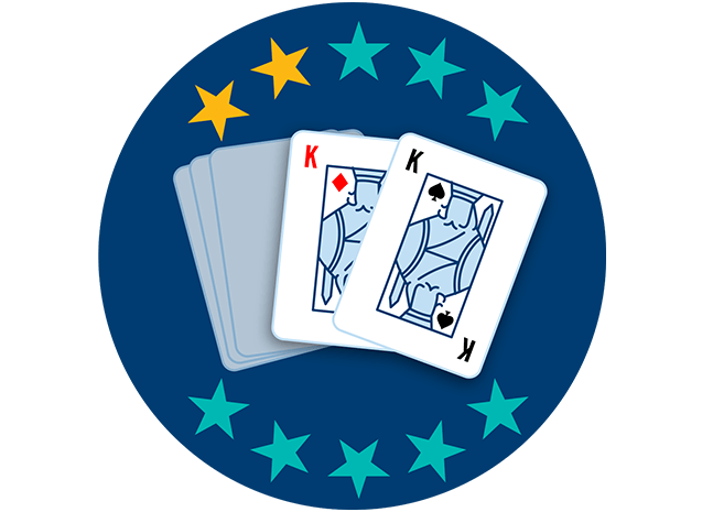 Two out of 5 playing cards appear face up, showing the King of Diamonds and the King of Clubs. Two out of 10 stars are highlighted, showing this hand ranks second lowest overall.