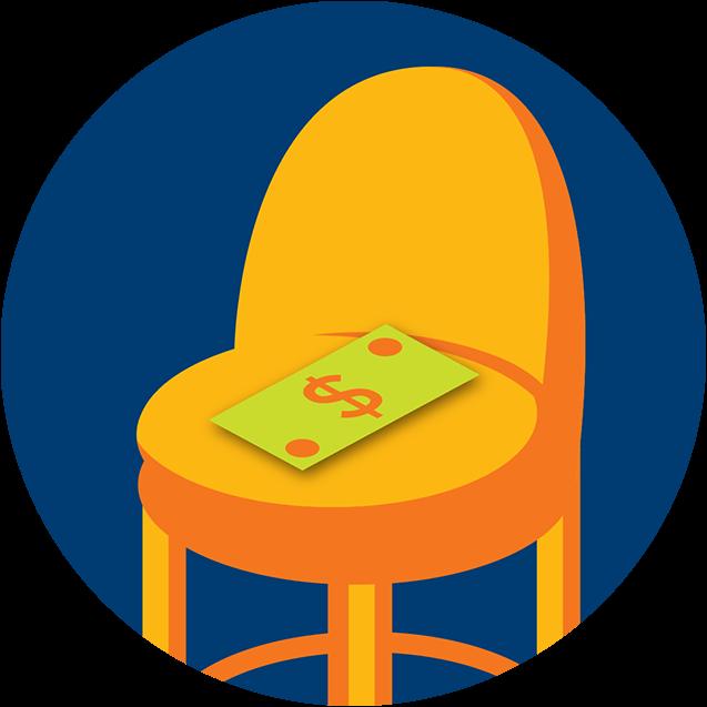 Un billet de banque est placé sur une chaise.