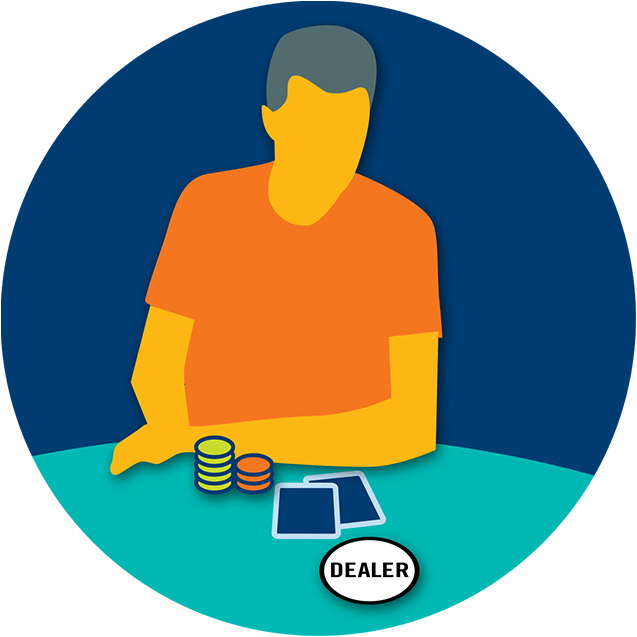 A player has two cards, some poker chips and the dealer button.