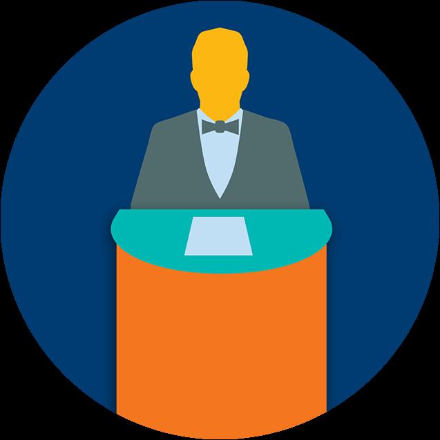 Une personne se tient derrière un podium.