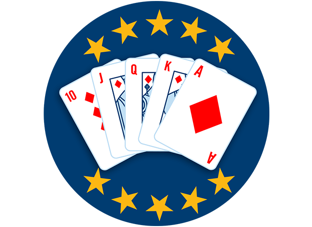 Five playing cards face up, showing 10, Jack, Queen, King and Ace of Diamonds. 10 stars are highlighted, showing that this hand ranks highest overall.