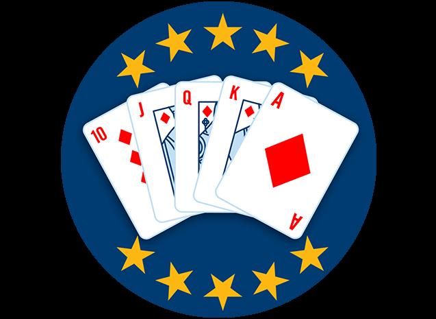 五张牌,牌面朝上,分别为方块10、J、Q、K、A。有10颗星星全部高亮,显示出这套牌型是最强手牌