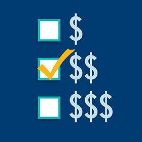 Des symboles de dollar représentant le niveau de dépenses et un crochet est placé à côté de l'option du centre $$.