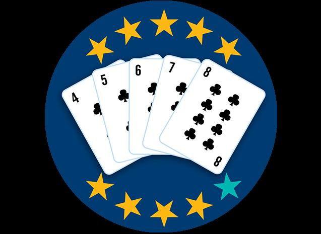 Cinq cartes, face visible : le 5, le 6, le 7, le 8 et le 9 de trèfle. Neuf étoiles sur dix sont colorées pour indiquer que cette main se classe au deuxième rang parmi toutes les mains.