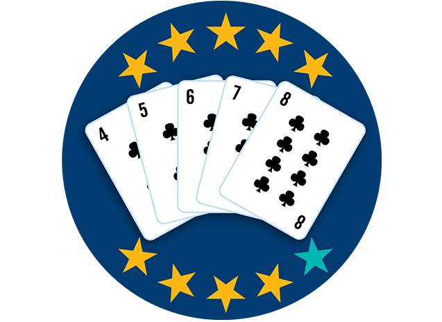 Five playing cards face up, showing 5, 6, 7, 8,and 9 of Clubs. Nine of 10 stars are highlighted, showing this hand ranks second highest overall.