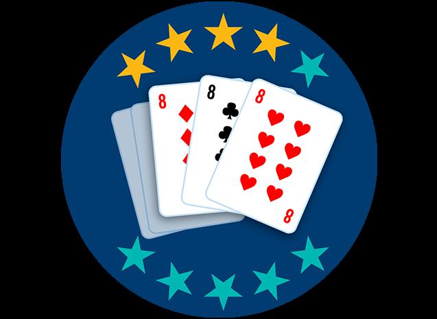 Trois cartes sur cinq apparaissent, face visible : le 8 de carreau, le 8 de trèfle et le 8 de cœur. Quatre étoiles sur dix sont colorées pour indiquer que cette main se classe au septième rang parmi toutes les mains.