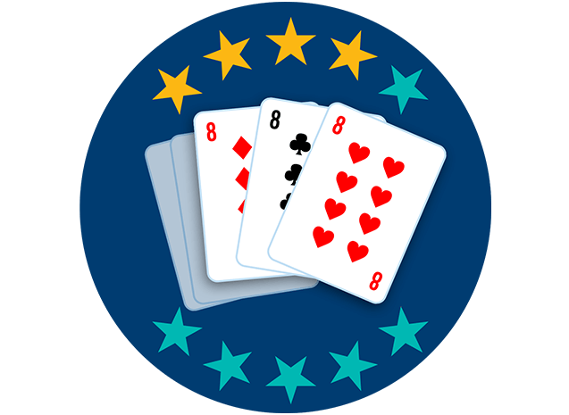 Three out of 5playing cards appear face up, showing the 8 ofDiamonds, 8 of Clubs and 8 of Hearts. Fourout of 10 stars are highlighted, showing this hand ranks fourth lowest overall.
