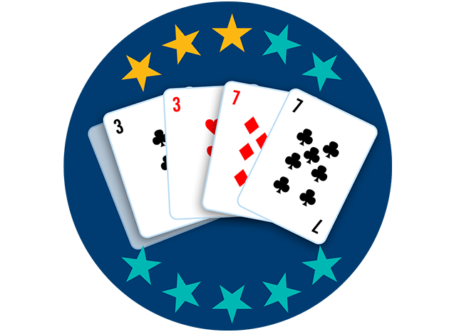 Four out of 5playing cards appear face up, showing the 3 of Clubs and the 3 Diamonds alongside the 7 of Diamonds and the 7 of Clubs. Three out of 10 stars are highlighted, showing this hand ranks third lowest overall.