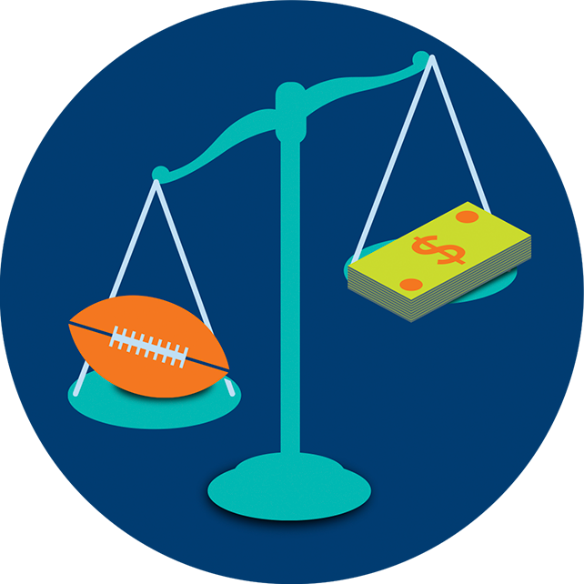 A justice scale balances a football and a stack of dollar bills