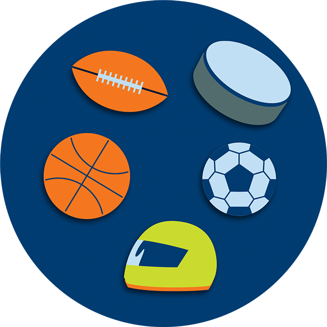 A collection of game equipment featuring a football, a hockey puck, a soccer ball, a helmet and a basketball