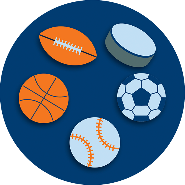 A collection of game equipment featuring a football, a hockey puck, a soccer ball, a baseball, and a basketball