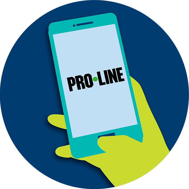 A hand holds up a smartphone displaying the PROLINE APP on the screen