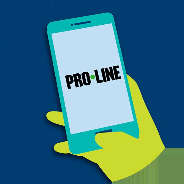 Une main tient un téléphone intelligent sur lequel l'APPLI PRO•LINE est affichée à l'écran
