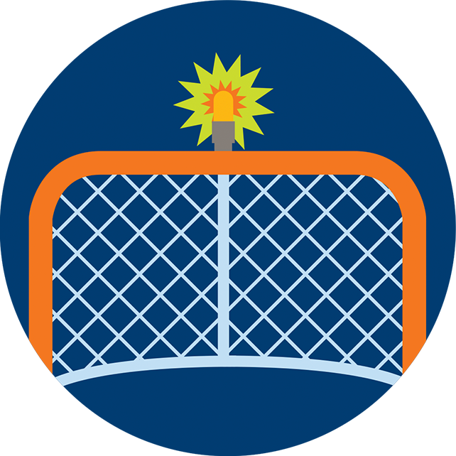 A light flashes on top of a hockey net