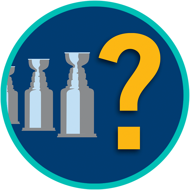 A question mark sits at the head of a row of trophies