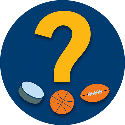 A question mark hovers above a hockey puck, a basketball and a football