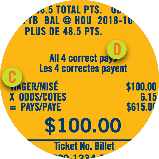 The section on a PROLINE ticket showing the amount wagered and the total number of events selected