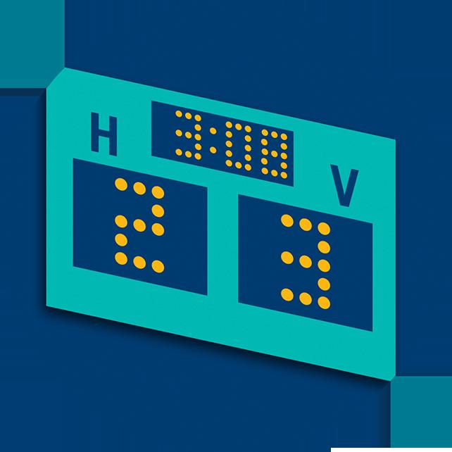 Un tableau indique un pointage de 2 points pour les Receveurs et de 3 points pour les Visiteurs après 3 minutes et 8 secondes