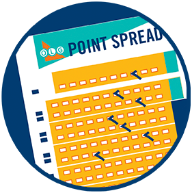 A completed POINT SPREAD selection slip showing various selection boxes coloured in