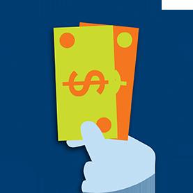 Une main tient des billets de banque